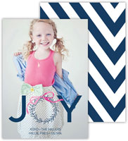 Dabney Lee Digital Holiday Photo Card - Wreath Navy with Foil (Flat)