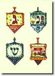 Indelible Ink Chanukah Card - Four Dreidels