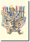Indelible Ink Chanukah Card - 19th Century Polish Menorah