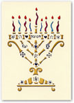 Indelible Ink Chanukah Card - Hannukiah Papercut