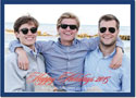 Boatman Geller Digital Holiday Photo Card - Holiday Border Navy with Foil