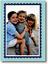 Boatman Geller Holiday Photo Mount Card - Blue with Navy Scallop