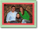 Boatman Geller Holiday Photo Mount Card - Green Stripe with Red Dot