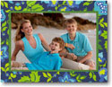 Boatman Geller Holiday Photo Mount Card - Blue & Green Floral