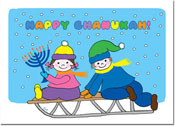 Paper People Chanukah Cards - Kids on Sled