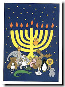 Paper People Holiday Cards - Animals With Menorah