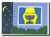 Paper People Holiday Cards - Menorah In Window