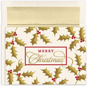 Masterpiece Studios - Pre-Printed Holiday Cards (Christmas Holly & Berries)