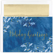 Masterpiece Studios - Pre-Printed Holiday Cards (Blue & Gold Boughs)