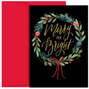 Masterpiece Studios - Pre-Printed Holiday Cards (Merry & Bright Wreath)