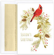 Masterpiece Studios - Pre-Printed Holiday Cards (Pine Perched Cardinal )