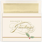 Masterpiece Studios - Pre-Printed Holiday Cards (Seasons Greetings Holly)