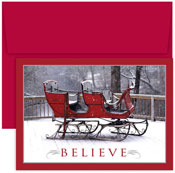 Masterpiece Studios - Pre-Printed Holiday Cards (Believe Sleigh)