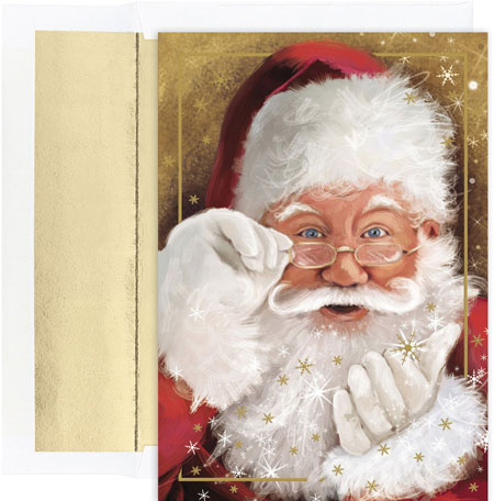 Pre-Printed Boxed Holiday Cards by Masterpiece Studios (Sparkling Santa)
