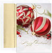 Pre-Printed Boxed Holiday Cards by Masterpiece Studios (Red & Gold Ornaments)