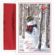 Pre-Printed Boxed Holiday Cards by Masterpiece Studios (Snowman With Cardinal)