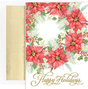 Pre-Printed Boxed Holiday Cards by Masterpiece Studios (Poinsettia Wreath)
