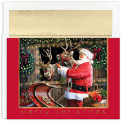 Pre-Printed Boxed Holiday Cards by Masterpiece Studios (Santa And Reindeer)