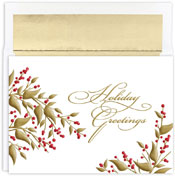 Pre-Printed Boxed Holiday Cards by Masterpiece Studios (Golden Berries)
