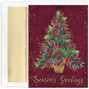 Pre-Printed Boxed Holiday Cards by Masterpiece Studios (Gold And Burgandy Tree)