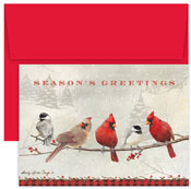 Pre-Printed Boxed Holiday Cards by Masterpiece Studios (Cardinals And Chickadees)