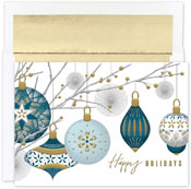 Pre-Printed Boxed Holiday Cards by Masterpiece Studios (Silver & Gold Baubles)