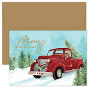 Pre-Printed Boxed Holiday Cards by Masterpiece Studios (Red Truck And Tree)