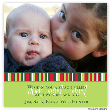 Take Note Designs Digital Holiday Photo Cards - Green with Multi Striped Border