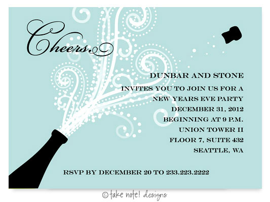 take note designs digital holiday invitationsgreeting cards champagne blast horizontal