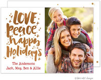 Take Note Designs Digital Holiday Photo Cards with Foil - Love Peace Happy Holidays Scatter