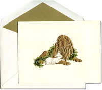 William Arthur Holiday Greeting Cards - Peaceful Lion and Lamb