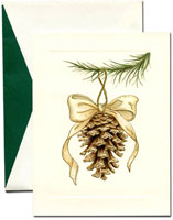 William Arthur Holiday Greeting Cards - Elegant Pinecone Ornament
