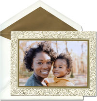 William Arthur Holiday Photo Mount Cards - Golden Swirls
