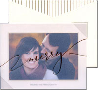 William Arthur Holiday Photo Mount Cards - Modern Rule Opal<br>with Vellum Overlay