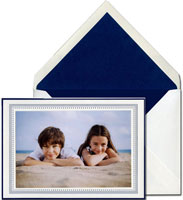 Vera Wang Holiday Photo Mount Cards - Oyster and Indigo Grosgrain