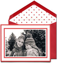 William Arthur Holiday Photo Mount Cards - Scarlet Candy Stripe