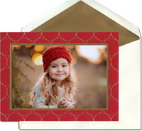 William Arthur Holiday Photo Mount Cards - Gold Circles on Scarlet