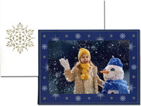 William Arthur Holiday Photo Mount Cards - Snowflakes on Navy