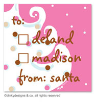 Dinky Designs Holiday Gift Enclosure Cards - Pink - White Christmas (Holiday) [Melanie]
