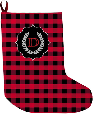 Lavender Belle Stocking (Buffalo Plaid Red and Black)