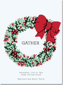 Chatsworth Holiday Invitations - Holly Wreath Invite