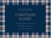 Chatsworth Holiday Invitations - Navy Plaid Invite