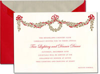 Crane Holiday Invitations - Golden Holly Bough