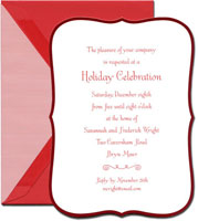 Crane Holiday Invitations - Ornate Red Border