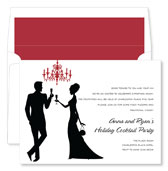 Noteworthy Collections - Holiday Invitations (Silhouette Champagne Toast White)