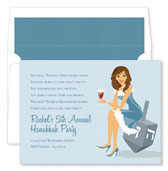 Noteworthy Collections - Holiday Invitations (Hanukkah Girl - Brunette)