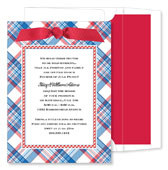 Noteworthy Collections - Holiday Invitations (Patriotic Plaid & Gingham with Ribbon)