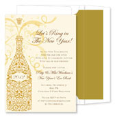 Noteworthy Collections - Holiday Invitations (Filigree Champagne Gold)