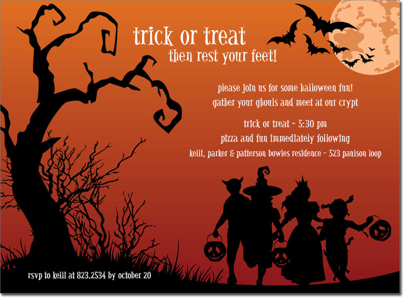 Halloween Trick Or Treat Silhouette.Noteworthy Collections Halloween Party Invitations Trick