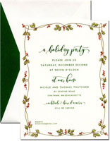 William Arthur Holiday Invitations - Gilded Holly Vine